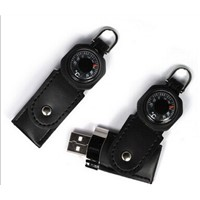 USB drive ,Genuine capacity USB flash drive, leather magnetic portable compass, OEM orders