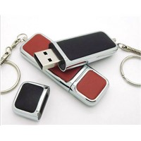 USB drive , Leather Case USB Flash Drive of Business Type with 4MB to 128GB Storage