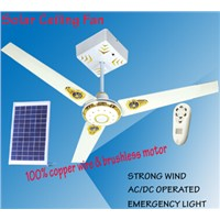 Solar Rechargeable Ceiling Fan with LED Light
