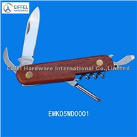 Hot sale 5 in 1 Multi knife with wood handle(EMK05WD0001)