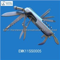 Hot sale 11 in 1 Multi Function Knife with torch ,handle color can be customized (EMK11SS0005)