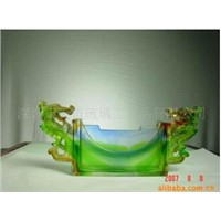 Crystal Craft Colored Glaze Business Card Holder