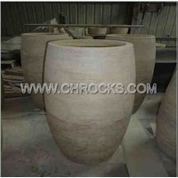 Beige Travertine Barrel Sink,Beige Travertine Pedestal Sink,Travertine Wash Basin,Stone Vessel Sink