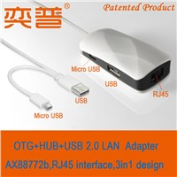 Hot new products of 2015 OTG+2Ports HUB+USB LAN ethernet adapter