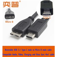Reversible USB 3.1 Type-C male to USB 3.0 Micro B cable USB 3.1 Type C cable
