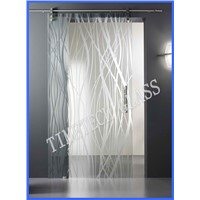 Pattern Frosted Tempered Glass Door (CE EN12150)