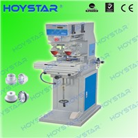 Pneumatic 2 color pad printing machine with shuttle worktable and open ink tray