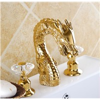 gold clour widespread lavtory sink faucet dragon mixer faucet