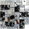 GM-123 white and black color metal mosaic tiles mix glass mosaic for wall,backgroun decoration