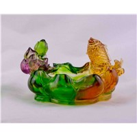 crystal glass craft liu li fish ashtray
