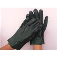 "11"" Green textured Wrist length pvc working gloves"