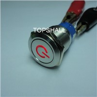 Reset,self-lock,off-on,off-(on) metal push button switch with power symbol,