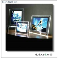 hot sale crystal light box/Desktop LED acrylic poster signs