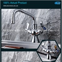 "Dual Hob Mounted 6"" Spout Brass Kitchen Mixer Tap for Commercial Kitchen"
