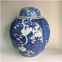 RYWG09 13INCH B & W Plum Blossom Ceramic Jars With Lid