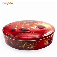 Large oval shape chocolate tin box