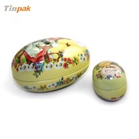 Easter's day egg shaped tin box