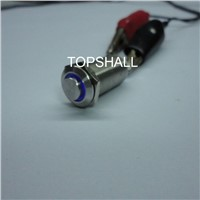 12mm high flat button led  metal push button switch with waterproof