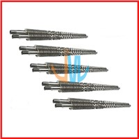 Conical twin screw and barrel for plastic extruder