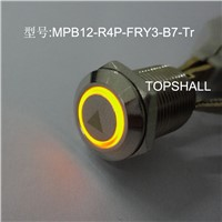 12mm led lighting metal  stainless steel starter button switch with button etched