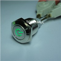16mm illuminated led matel push button switches with power logo