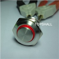 16mm high flat button  stainless steel metel lighted push button switches