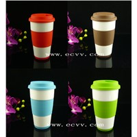 Porcelain Single Wall Cup with Silicone Sleeve & Lid