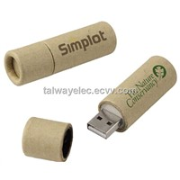 Recycle USB  ,Custom Recycled Paper Flash Drive, Wood and Bamboo Material, 64MB to 32GB