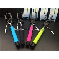 iPhone Cable Take Pole Selfie Stick with Two Type Adjustable Plastic Clip , Wired Monopod