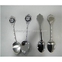 Stainless steel tea spoon with epoxy sticker logo