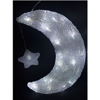 moon star Outdoor attractive 3D acrylic led light holiday acrylic led holiday light CE ROHS GS
