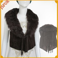 2015 winter luxurious vest pigskin garment with sheep fur collar short style women's vest