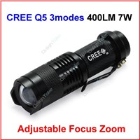 UltraFire Mini LED Torch 7W 400LM CREE Q5 LED Camp Flashlight Lamp Adjustable Focus Zoom 3 Modes
