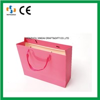 Pink custom printed paper bags no minimum