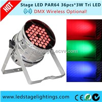 CE Approved LED PAR64 36pcs*3W Tri LED Professional Stage Lightings