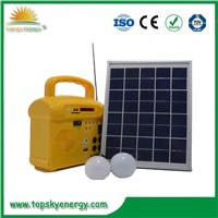 10W Mini Solar Lighting System with FM Radio, Phone Charger, MP3 Extra Function for Hot Sale