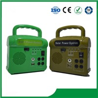 Potable Solar Lighting System 10W, FM Radio & MP3 Selective, with Phone Charger for Hot Sale