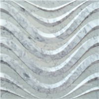 Natural Carrara White 3d wavy stone wall art tile