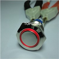 19mm Waterproof Metal on off Switch with Ring or Dot LED Lighting