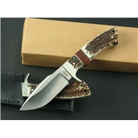 stag handle fixed blade hunting knives with satin finish blade,camping knives