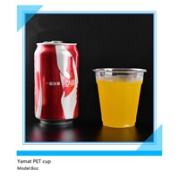 8oz PET cold beverage disposable plastic cup with lid