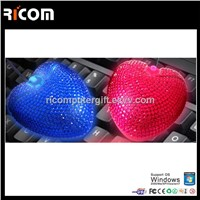 Heart shape crystal mouse,heart bling mouse,heart shape jewelry mouse--MO7009