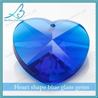 Factory direct sale heart cut blue China glass stone