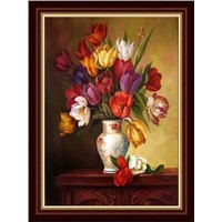 hand painted classical flower on vase