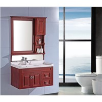 solid wood bathroom vanity with light OGX078