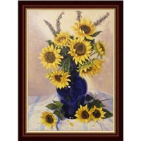 hand painted sunflower oil painting