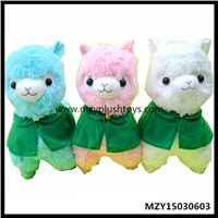 35/40cm Stock Plush Corps Design Alpaca Wearing Green Shawl Animals Toys