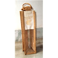 JUTE BOTTLE BAGS FOR PROMOTION WITH PVC WINDOW