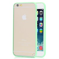 "Transparent PC Back + Light Green TPU Border Case Cover for 5.5"" Inch iPhone 6 Plus"