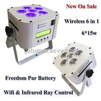 Wireless Par Light with Rechargeable Battery LED 6*15w 6 in 1 Portable Stage /Party Effect Lighting